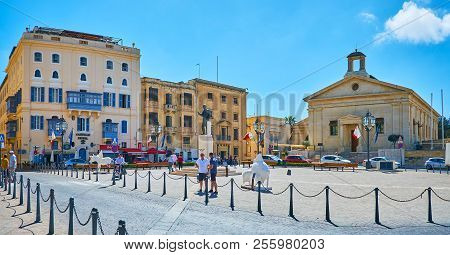 Valletta, Malta - June 17, 2018: Panorama Of Castille Place With Statue Of George Borg Olivier In Th