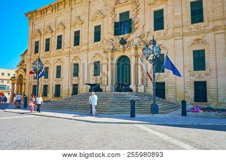 Valletta, Malta - June 17, 2018: The Auberge De Castille Mansion Is The Pearl Of Castille Place, Dec