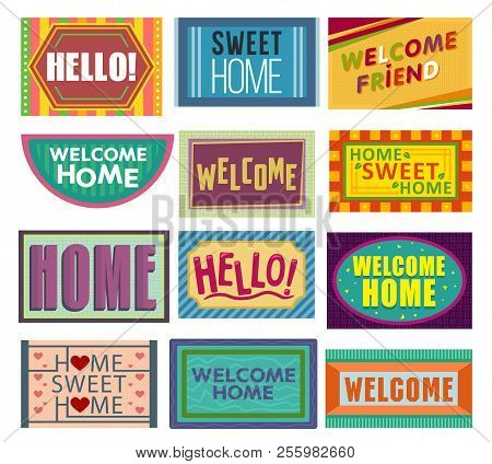 Home Mat Vector Welcome Doormat In Front Of House Entrance And Doorway Matting Rug For Visitors Illu