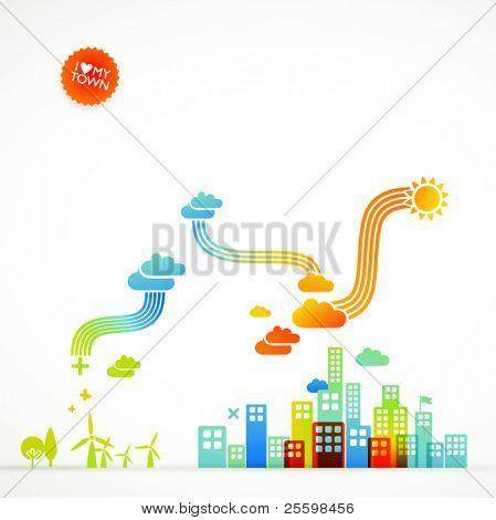 modern ecological town illustration