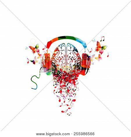 Colorful Human Brain With Music Notes And Headphones Isolated Vector Illustration Design. Artistic M