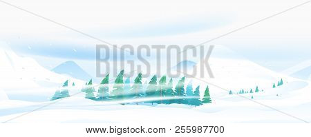Snow Blizzard In Winter Mountain, Extreme Weather Conditions With Cold Wind And Snow, Spruce Forest