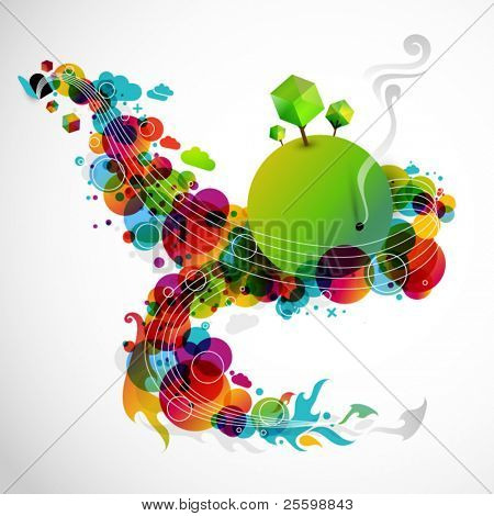 funky graphic design - abstract rainbow world