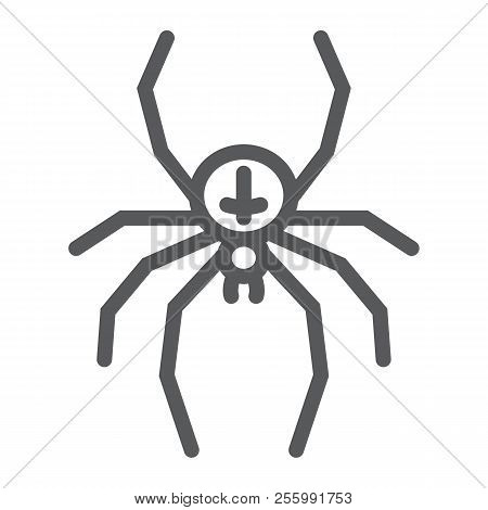 Spider Line Icon, Animal And Arachnid, Halloween Sign, Vector Graphics, A Linear Pattern On A White