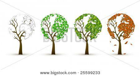 Set of 4 trees in 4 seasons