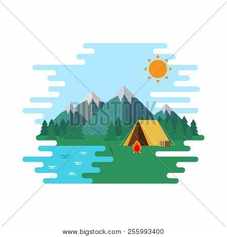Summer Camp, Landscape Forrest With Wellow Tent In The Mountain. Nature Adventures Vector Illustrati