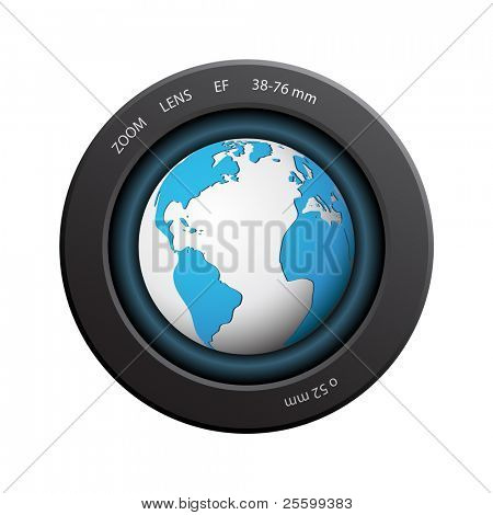 News sign (planet in a camera lens)