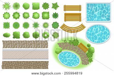 Landscape Design And Garden Elements. Footpath, Bench, Pool, Plants Top View. Landscaping Symbols Se