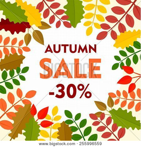 Leaves Final Autumn Sale Background. Flat Illustration Of Leaves Final Autumn Sale Background For We