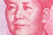 Mao Zedong on chinese hundred yuan banknote. High resolution photo. poster