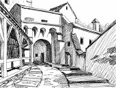 Medieval citadel sketch; this is the main entrance in the Schasburg citadel where Vlad Dracul (the father of legendary Dracula) lived for a while poster