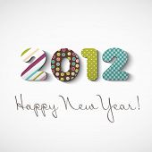 Happy new year 2012, colorful stickers poster