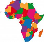 Colorful Africa map with countries and capital cities poster