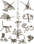 Silhouettes of Nazca Lines geoglyphs vector illustration poster