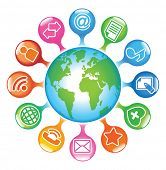 Social-Media-Globe.The development of global communications poster