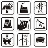 Set energy icons of various ways to produce energy in one color. poster