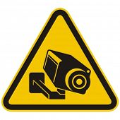 Surveillance camera warning sign. Vector illustration. poster