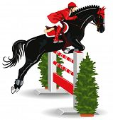 Show Jumping. Jockey on a beautiful black horse jumps over a barrier. poster