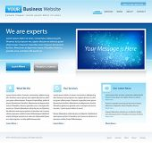blue business website template - home page design - clean and simple - with a space for a text poster
