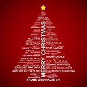 Christmas tree shape from letters - typographic composition - Merry Christmas in different languages poster