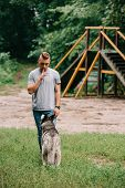 young cynologist training obedience with husky dog in park poster