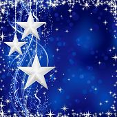 Christmas / winter background with stars, snow flakes and wavy lines on blue background with light dots for your festive occasions. No transparencies. poster