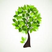 Season  tree with green leaves poster