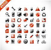 new set of 49 glossy web icons and design elements in red and gray poster