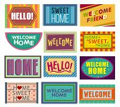 Home mat vector welcome doormat in front of house entrance and doorway matting rug for visitors illustration household set of homecoming welcomed enter decoration isolated on white background poster