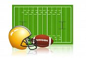 American football field with ball and helmet poster