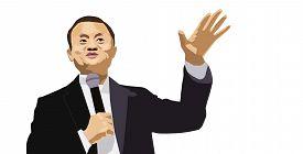 Aug, 2018: Ceo Of Alibaba Jack Ma Vector Illustration Portrait