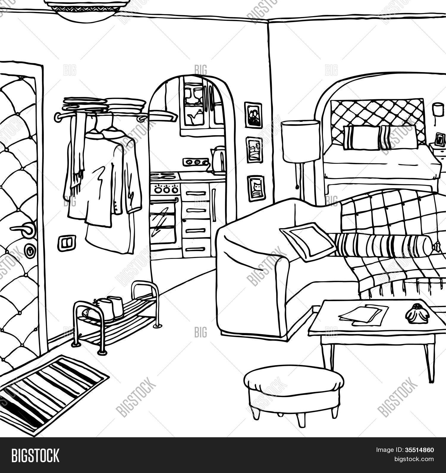 Interior Illustration Room Cartoon Drawing