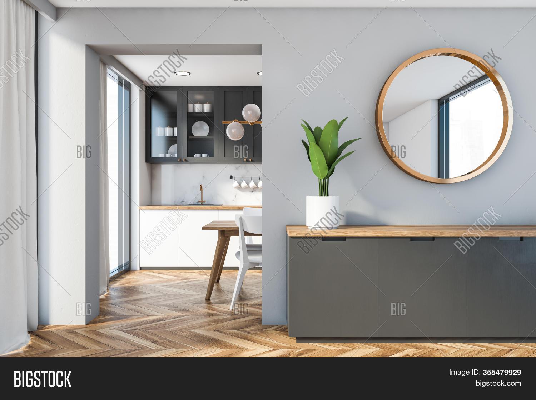 Cabinet Mirror Gray Image Photo Free Trial Bigstock