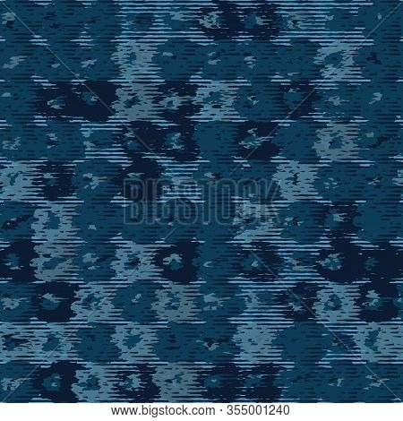 Classic Blue Blurred Vector Texture Seamless Pattern. Variegated Soft Blended Marble Dyed Background