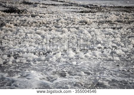 Ice And Slush On A Winter Road, County Wicklow