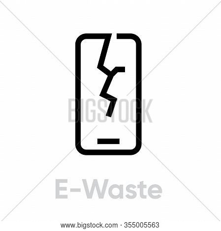 Recycling E-waste Icon. Editable Line Vector. Single Pictogram Isolated On A White Background.