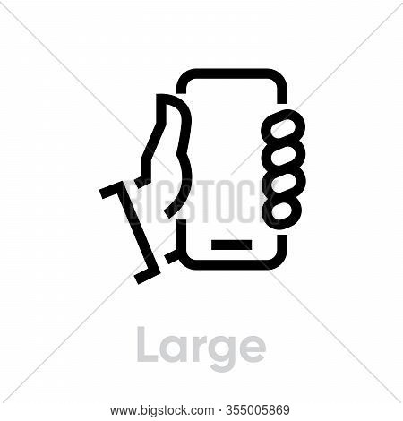 Specs Tech Large Phone Vector Editable Line Icon. Simple Pictogram Isolated On White Background.