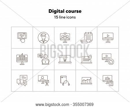 Digital Course Line Icon Set. Student, Computer, Lection. E-learning Concept. Can Be Used For Topics