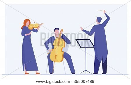 Orchestra Playing Classical Symphony. Conductor, Musicians With Violin, Alto Flat Vector Illustratio