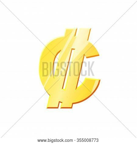 Crc Golden Colon Symbol On White Background. Finance Investment Concept. Exchange Costa Rican Curren