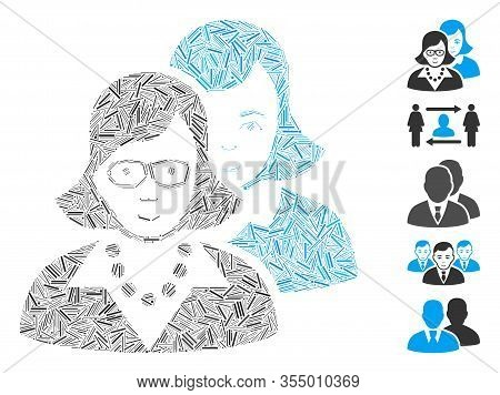 Dash Mosaic Based On Clever Women Icon. Mosaic Vector Clever Women Is Designed With Random Dash Dots