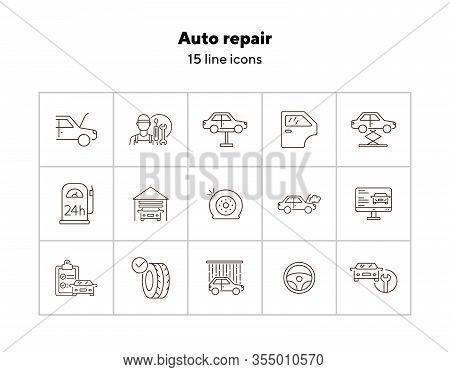 Auto Repair Icons. Set Of Line Icons. Car Lift, Flat Tyre, Diagnostic. Car Repair Concept. Vector Il