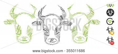 Hatch Mosaic Based On Cattle Icon. Mosaic Vector Cattle Is Designed With Scattered Hatch Spots. Bonu