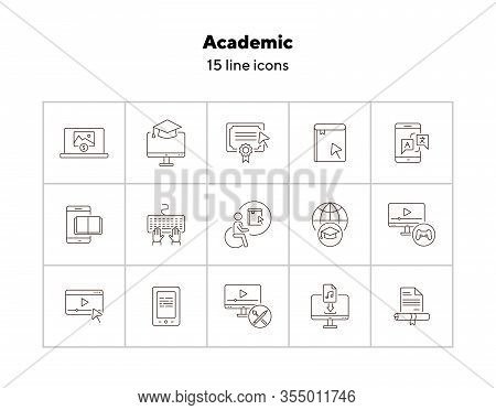 Academic Line Icon Set. E-book, Webinar, Computer. Online Education Concept. Can Be Used For Topics