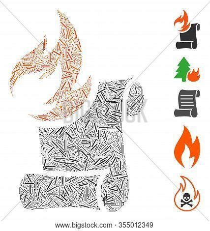 Line Mosaic Based On Burn Manuscript Icon. Mosaic Vector Burn Manuscript Is Designed With Scattered