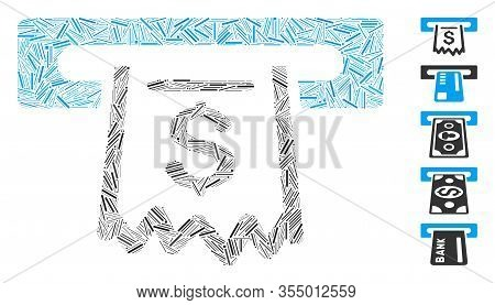 Line Mosaic Based On Paper Receipt Terminal Icon. Mosaic Vector Paper Receipt Terminal Is Designed W