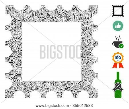 Hatch Mosaic Based On Postage Stamp Icon. Mosaic Vector Postage Stamp Is Formed With Random Hatch El