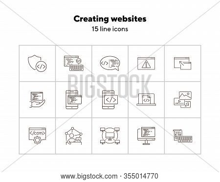 Creating Websites Icons. Set Of Line Icons. Computer Network, Firewall, Coding. Encryption Concept.