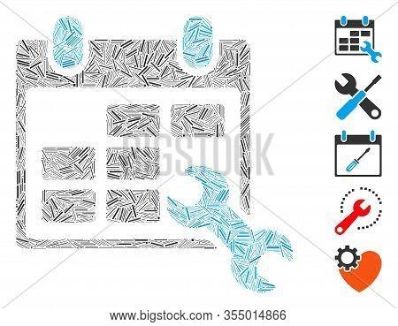Dash Mosaic Based On Configure Timetable Icon. Mosaic Vector Configure Timetable Is Composed With Ra