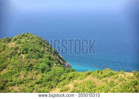 Landscape Background Of Top Of Mountain Of Island Over Blue Ocean , Top View Of Larn Island In Rayon